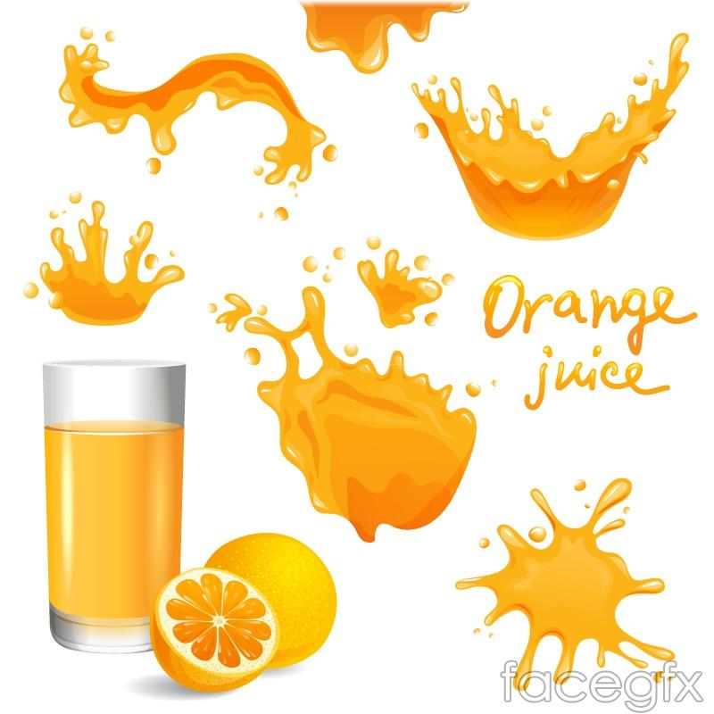 8 splashes of orange juice design vector