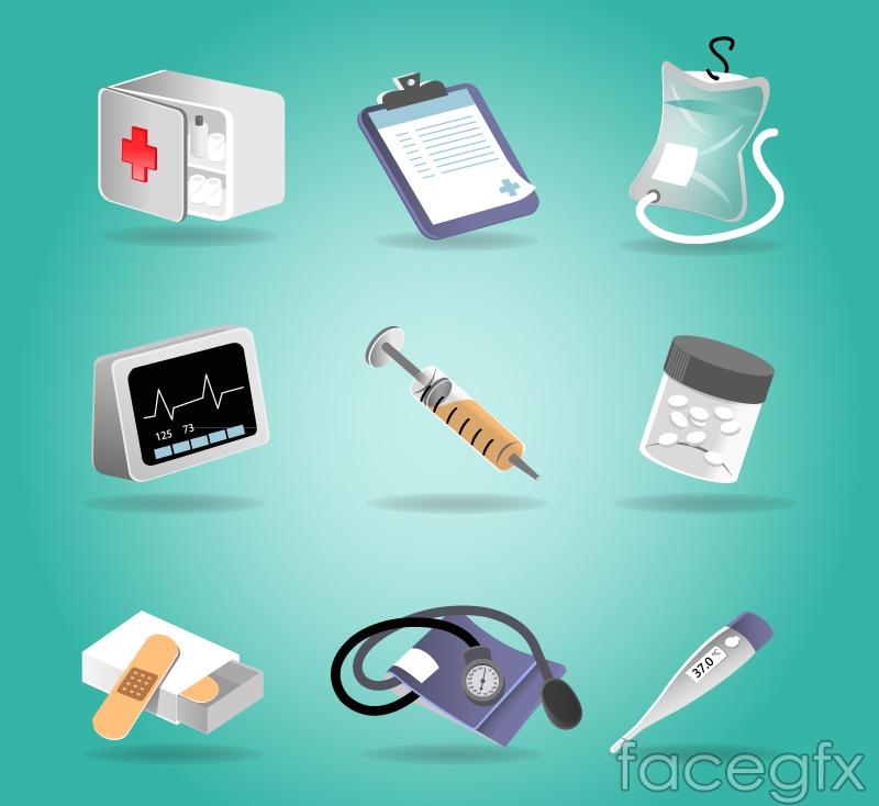 9 beautiful medical icon vector