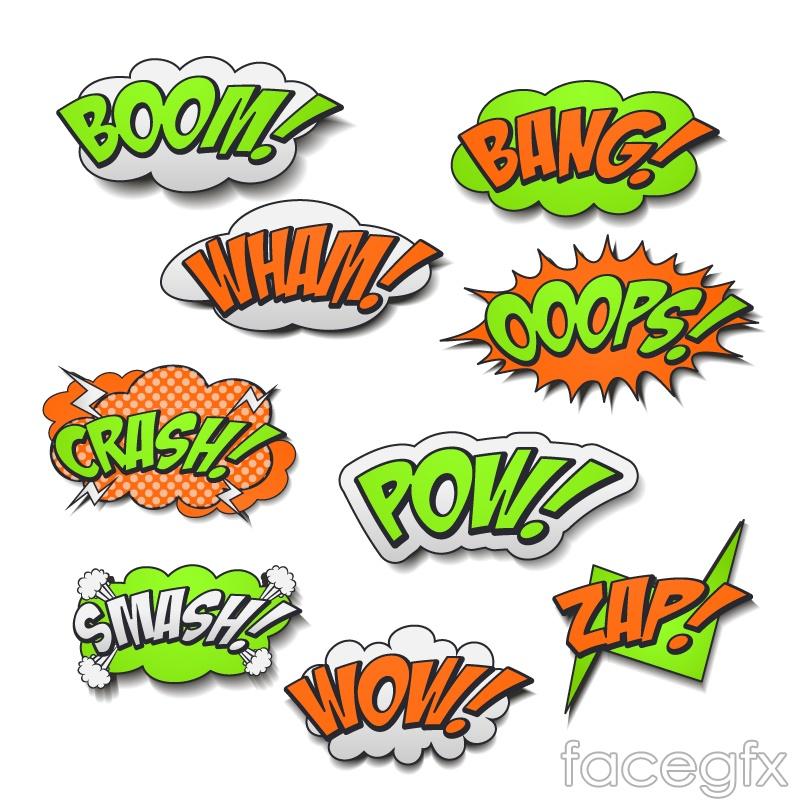 9 comic book style onomatopoeias speech bubble vector diagrams