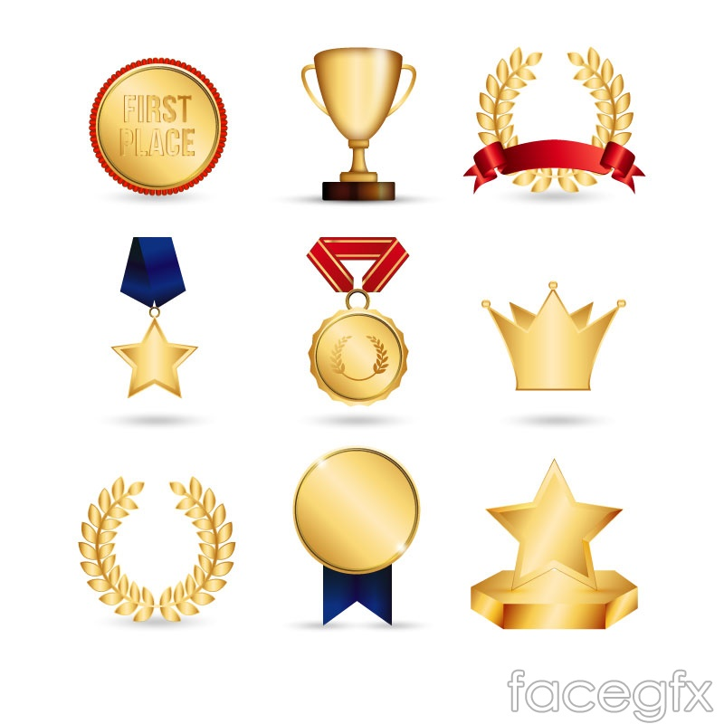 9 Golden trophies and medals vector