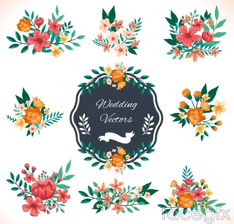 9 watercolors wedding flowers vector