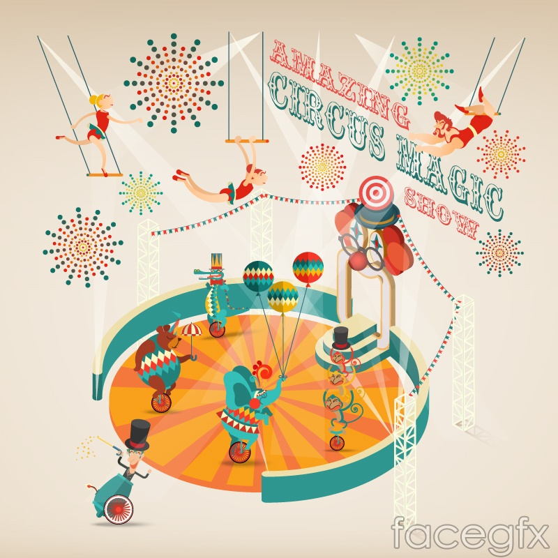 Circus color vector illustration
