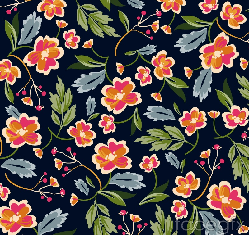 Color floral seamless background vector