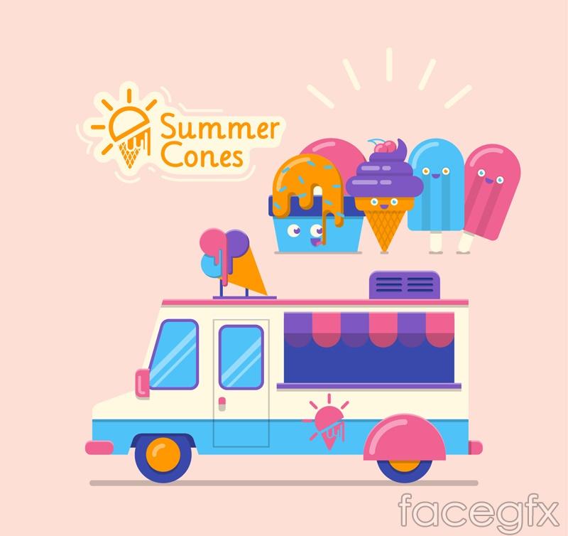 Color ice cream truck vector