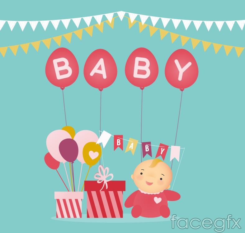Cute baby and gift box vector