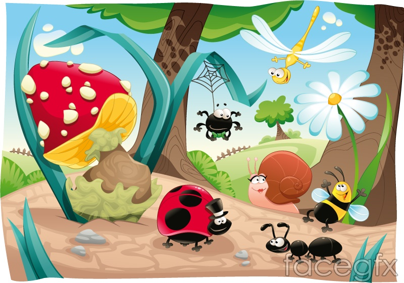 Forest insect cartoon vector illustration