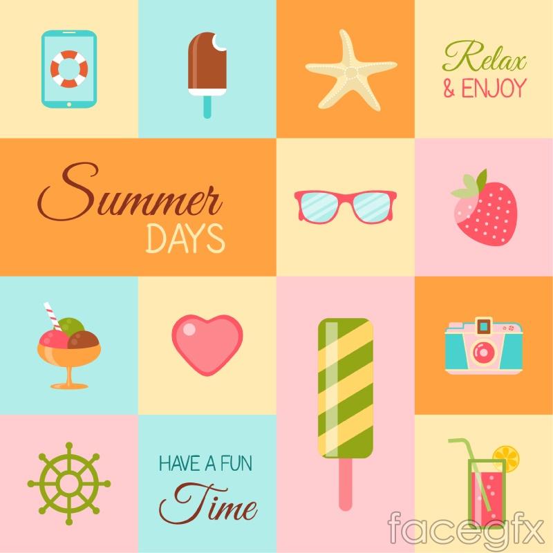 Spell summer elements vector illustration