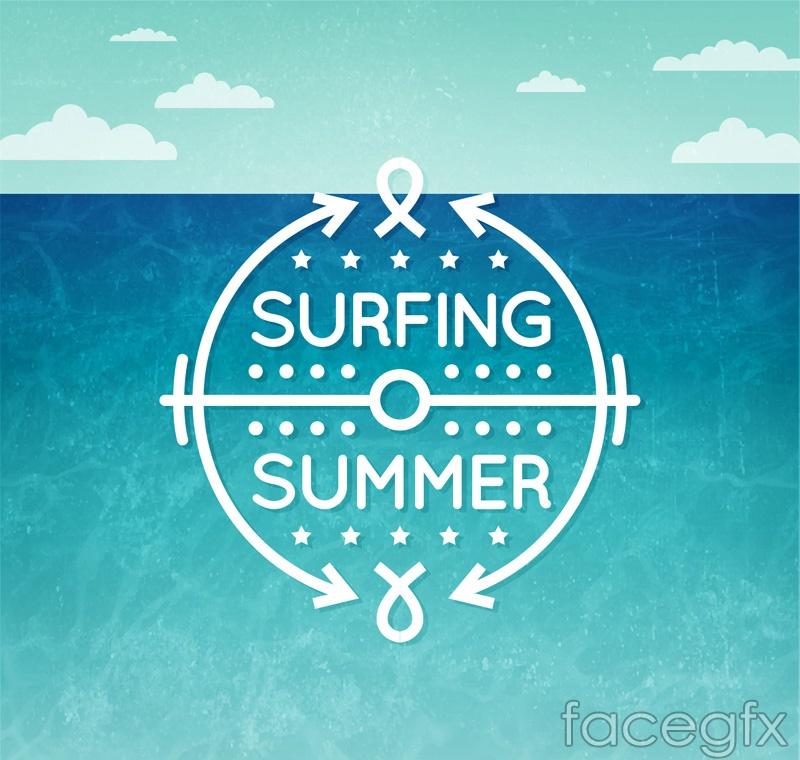 Summer surfing poster vector