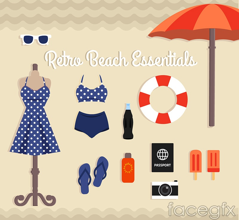 11 beach vacation Essentials vector