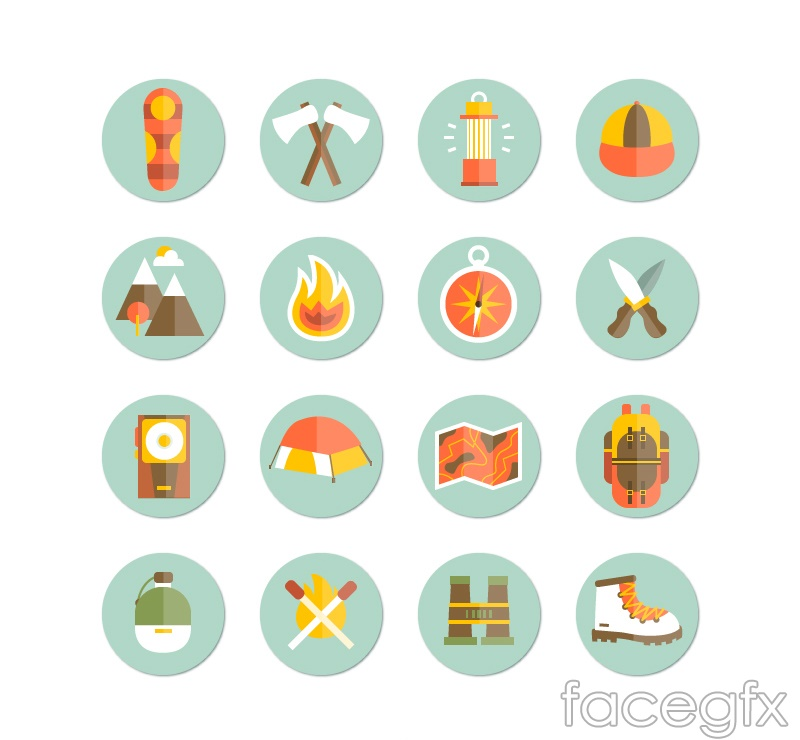 16 round camping icons vector