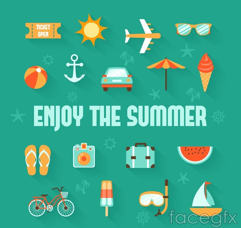 17 summer icon vector