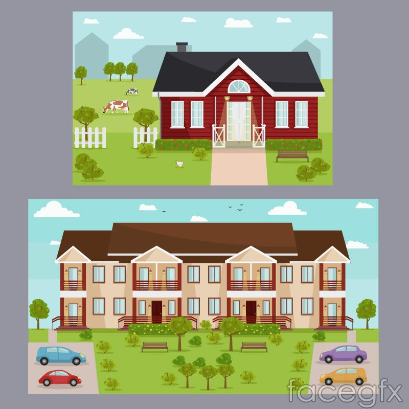 2 creative housing card vector