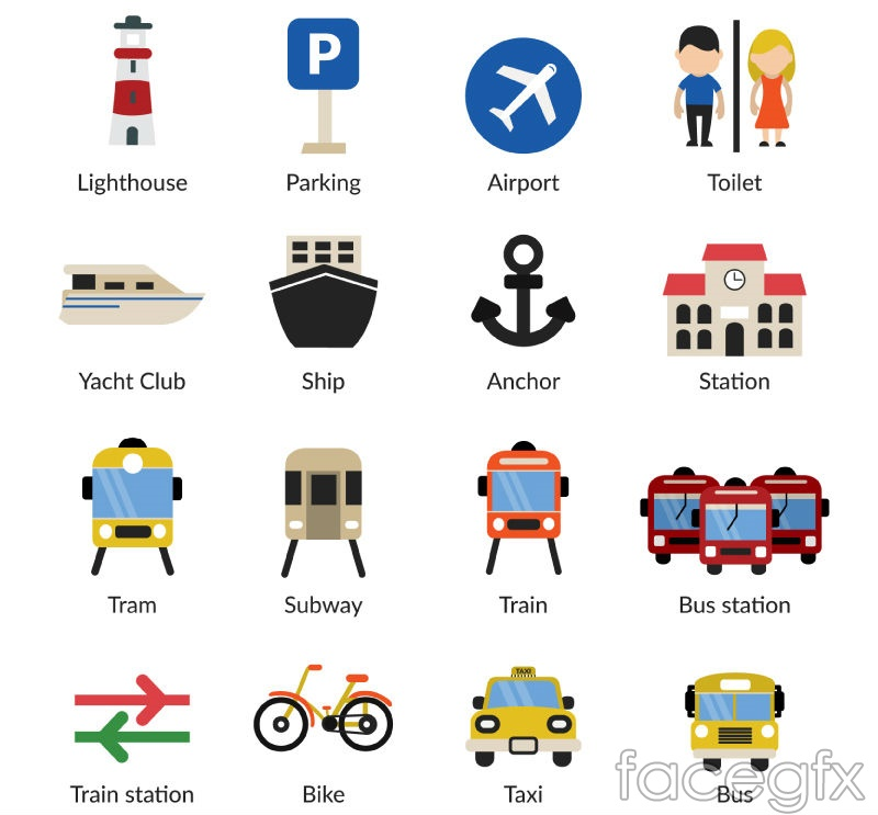 20 travel and transport icons vector