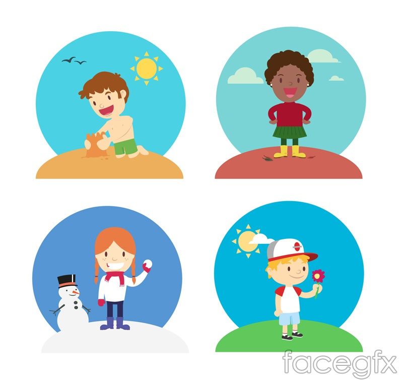 4 cartoon of children who play vector