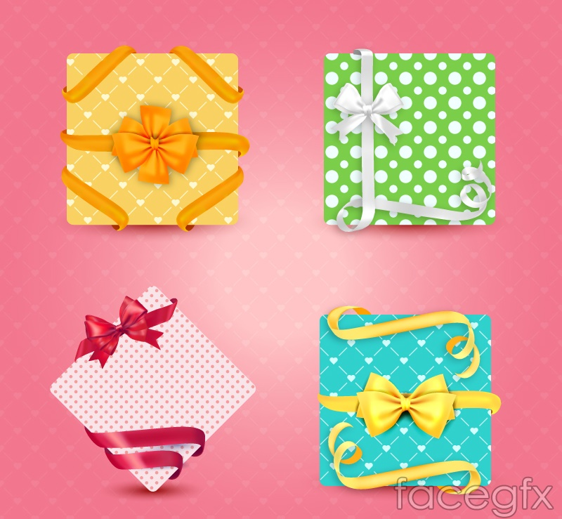 4 fresh packaged gift box vector