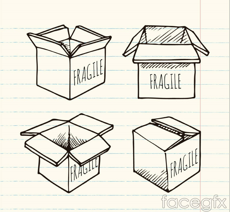 4 hand-painted fragile packing cartons vector
