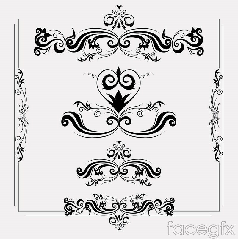 6 Black Lace design and pattern vector