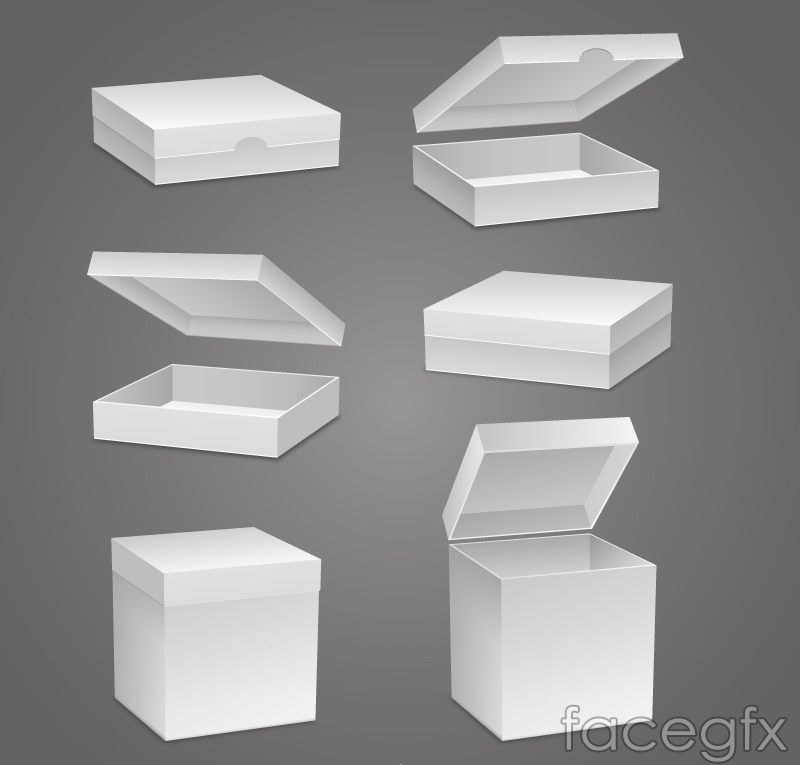 6 stereo blank tray design vector