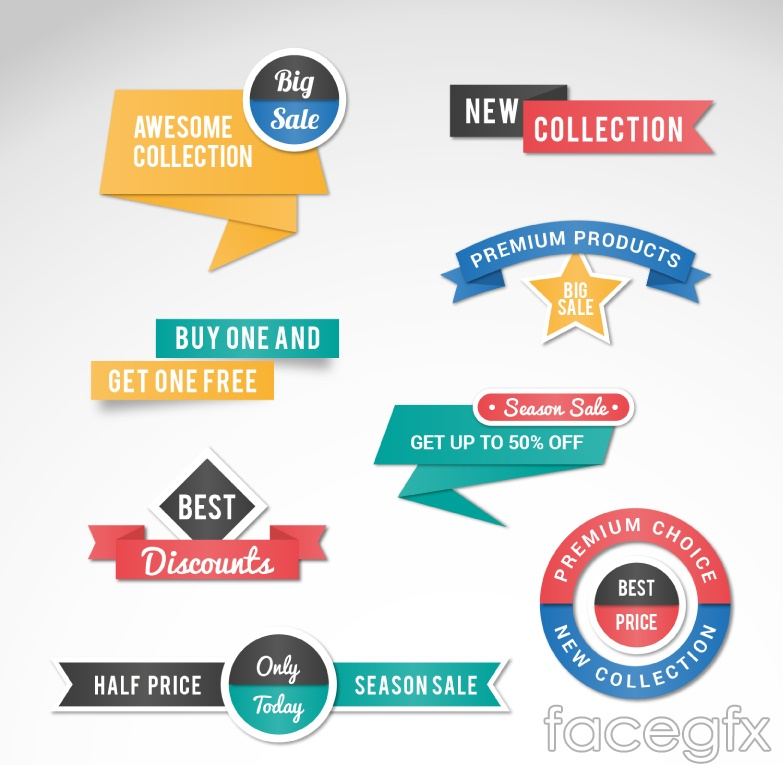 8 paper promotional labels vector