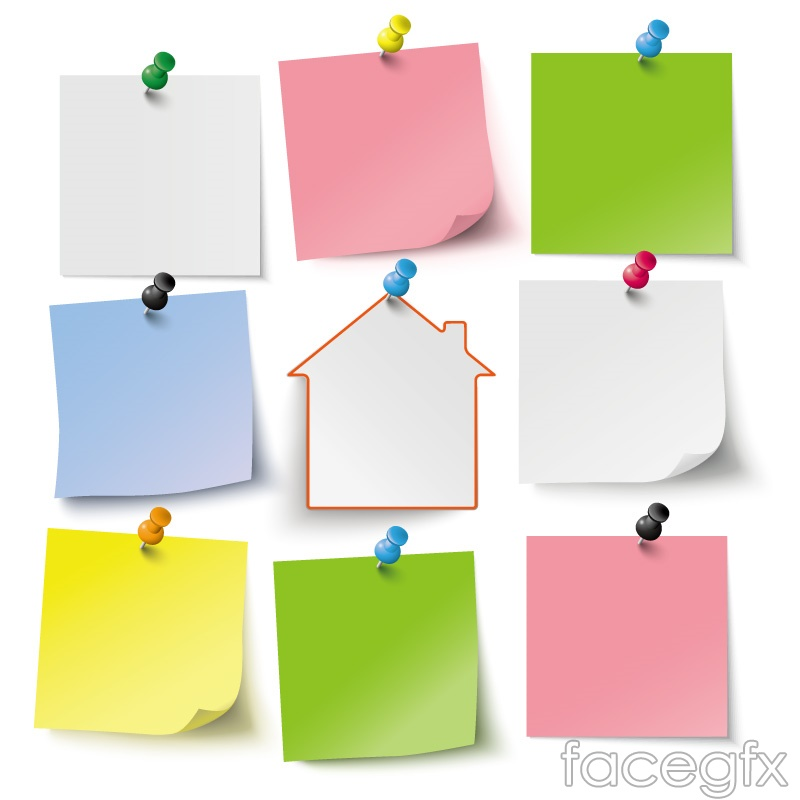 9 color blank note paper vector