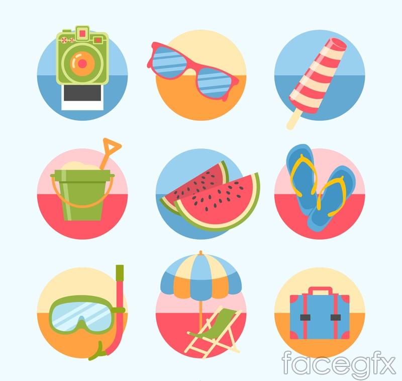 9 round summer icon vector