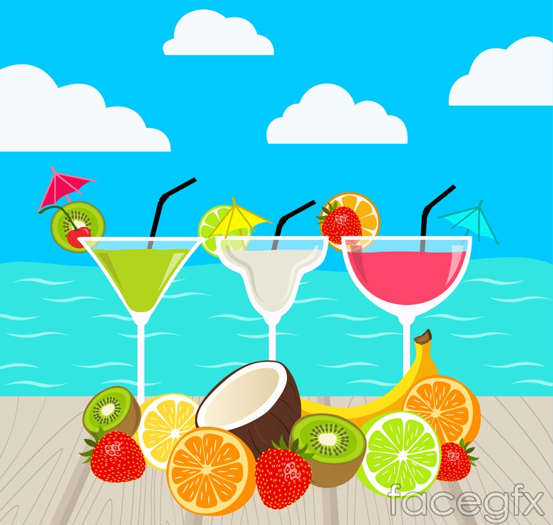 Fresh fruit cocktails and vector