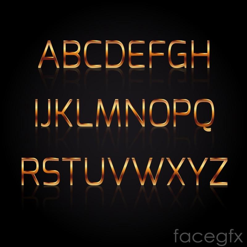 Gold textured alphabet vector