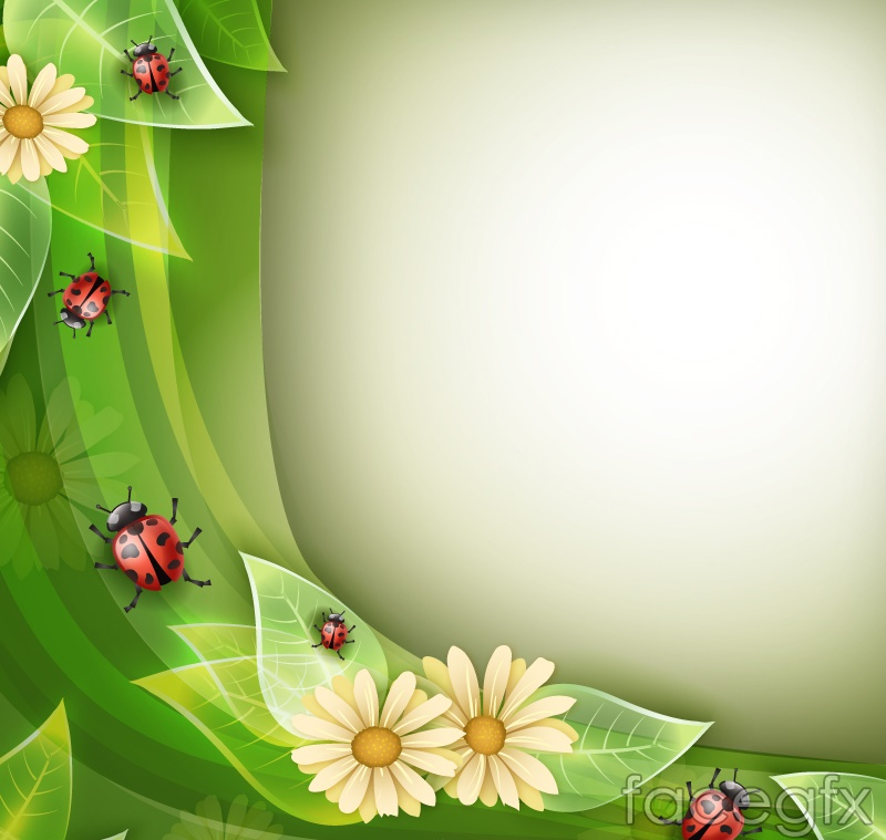 Green plants and Ladybug vector background