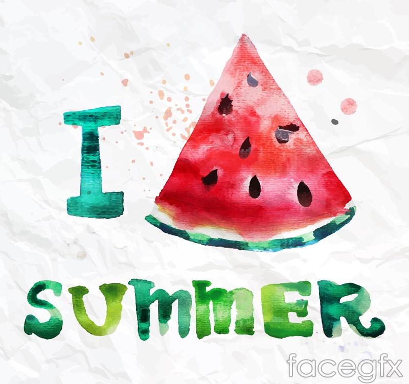 I love summer watermelon watercolor vectors