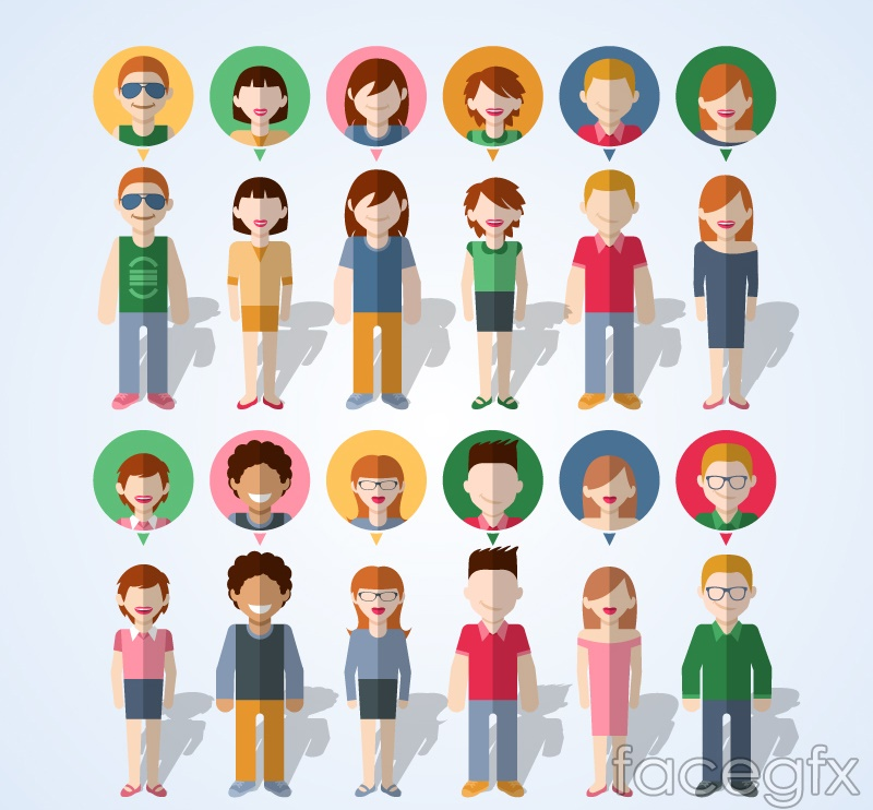 12 creative character and avatar vector illustration
