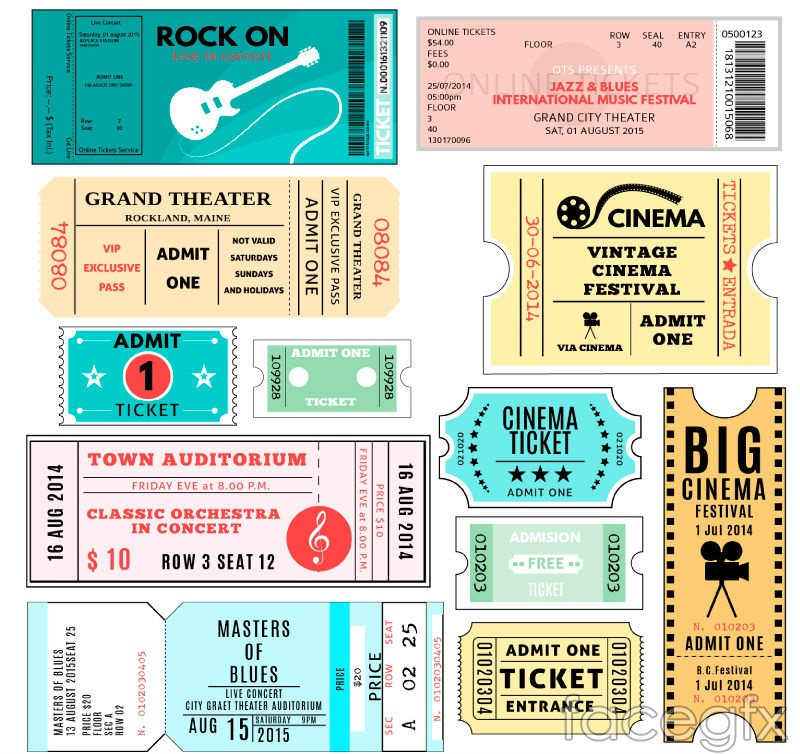 12 paper tickets or tickets to vector