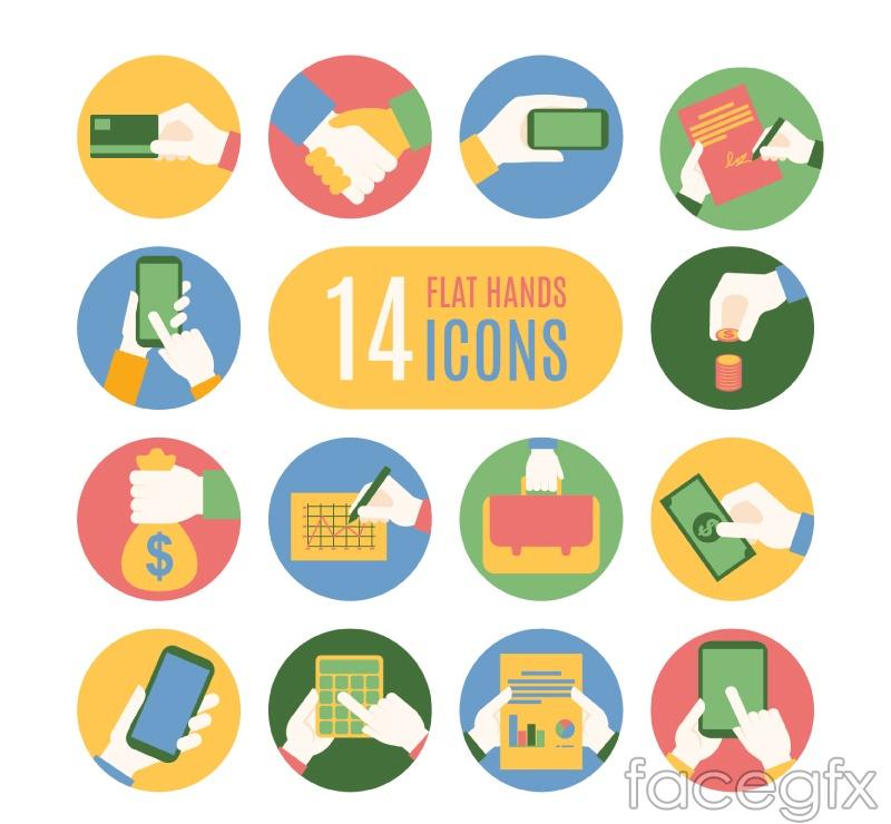 14 hand icon vector