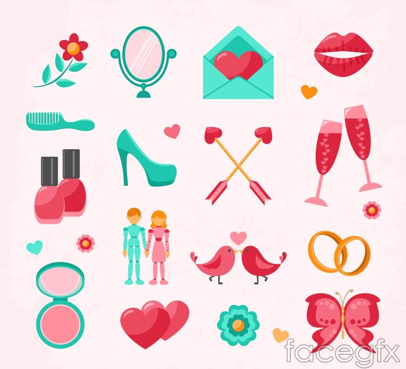 16 fresh wedding icon vector