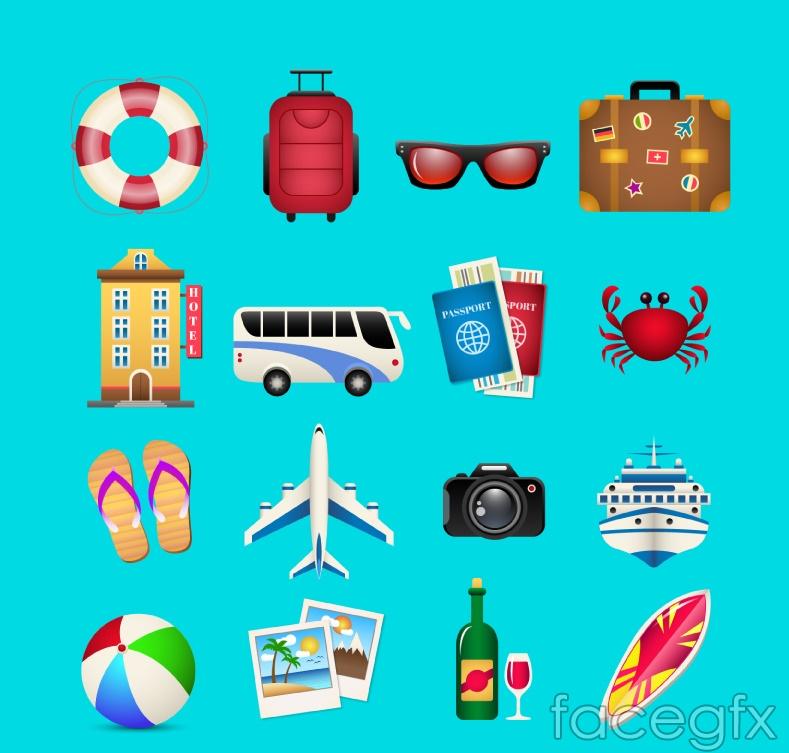 16 travel icon vector