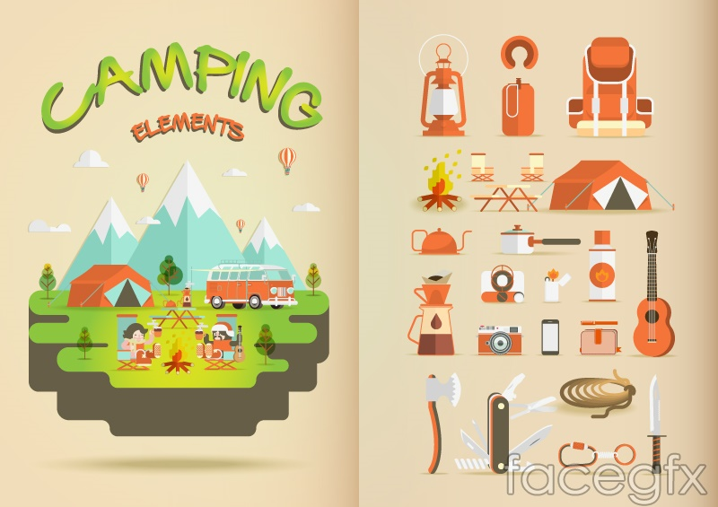 23 camping cartoon element vector
