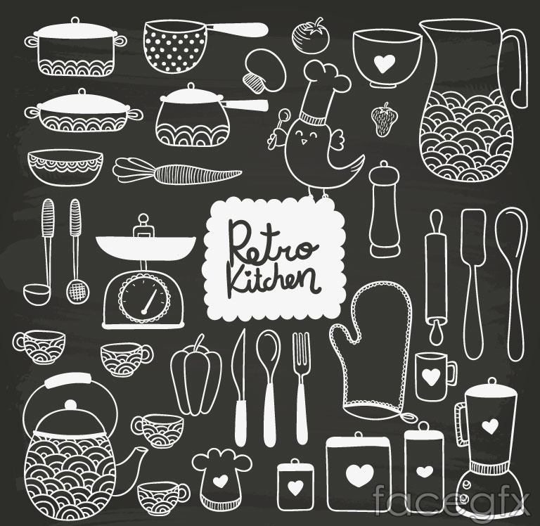 35 hand-painted kitchen design vector