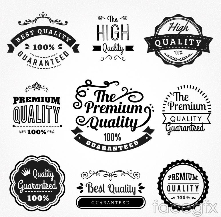 9 black quality label vector diagrams