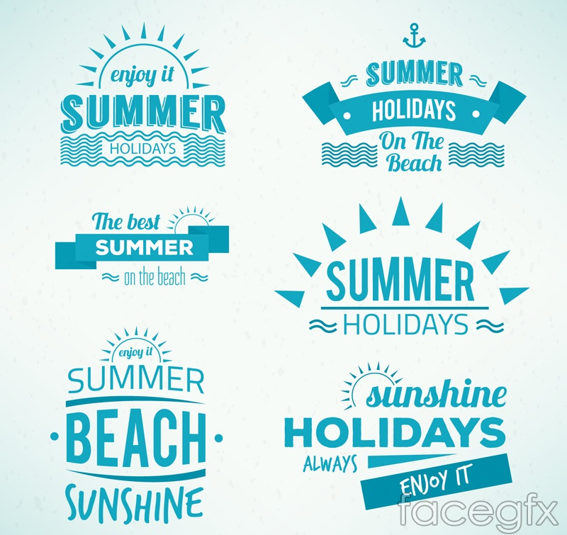9 blue summer tag vector