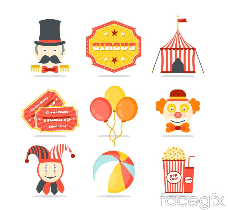 9 color circus icon vector