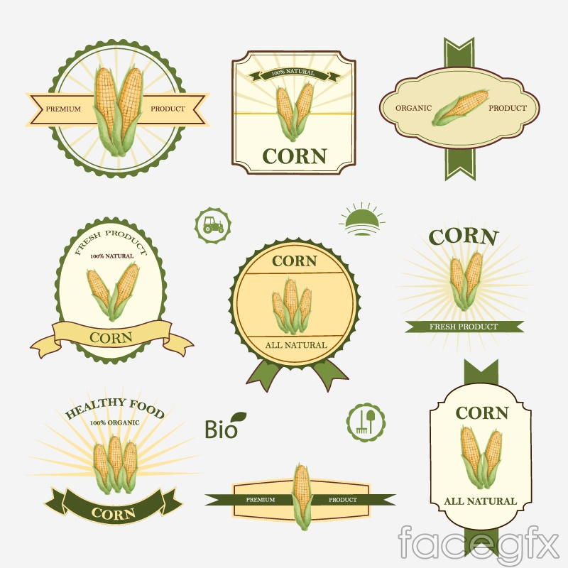 9 corn product labels vector