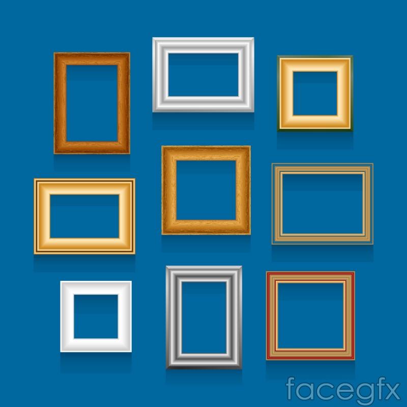 9 different color frame design vector