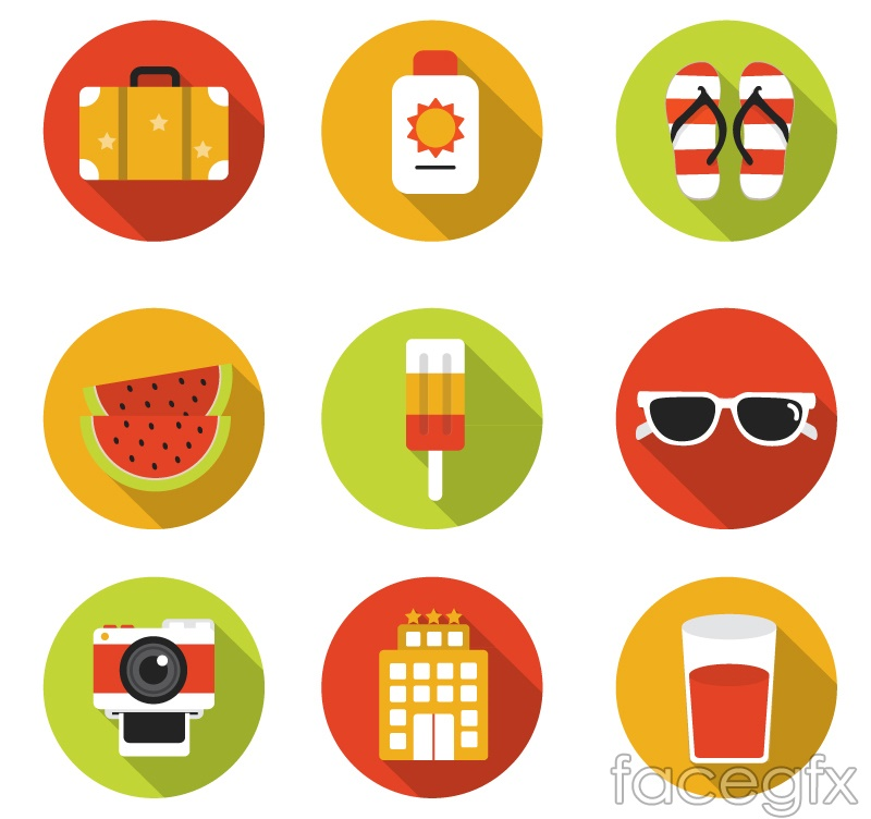 9 round summer holiday icons vector