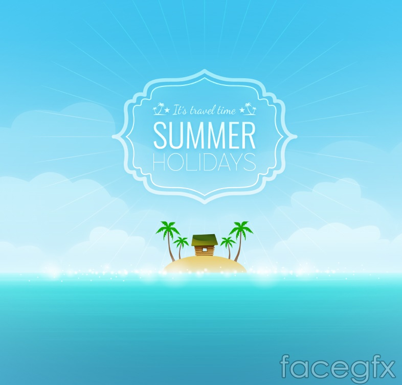 Beaches in summer Island vector