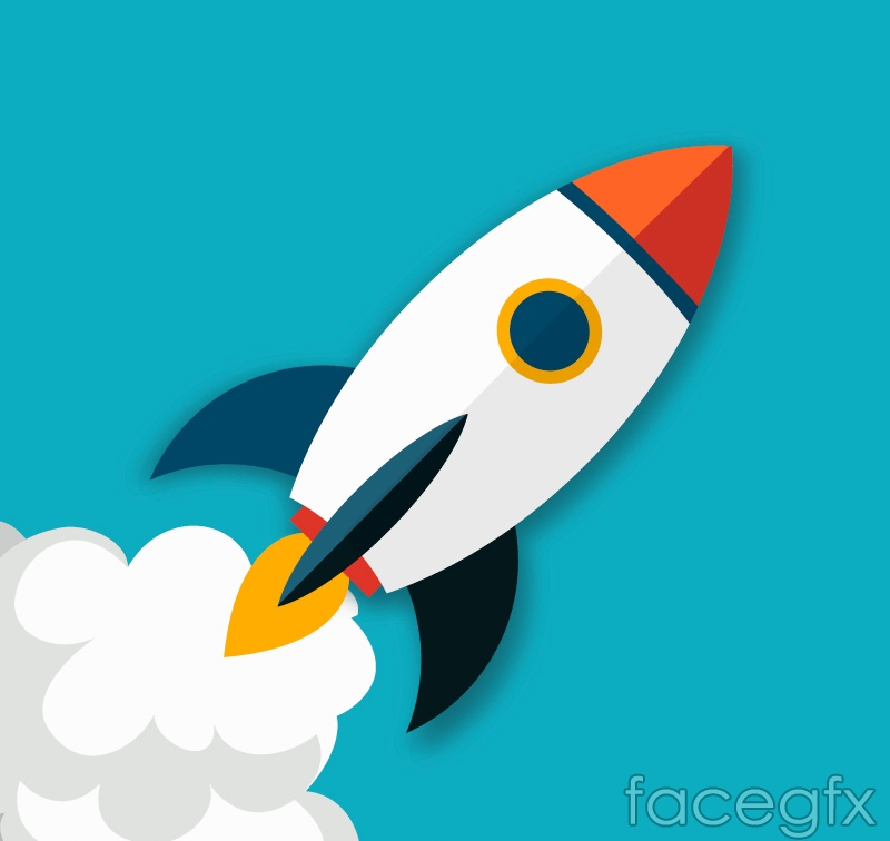Beautiful flight rocket vector