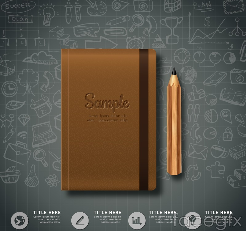 Beautiful notepads and pencils vector diagrams