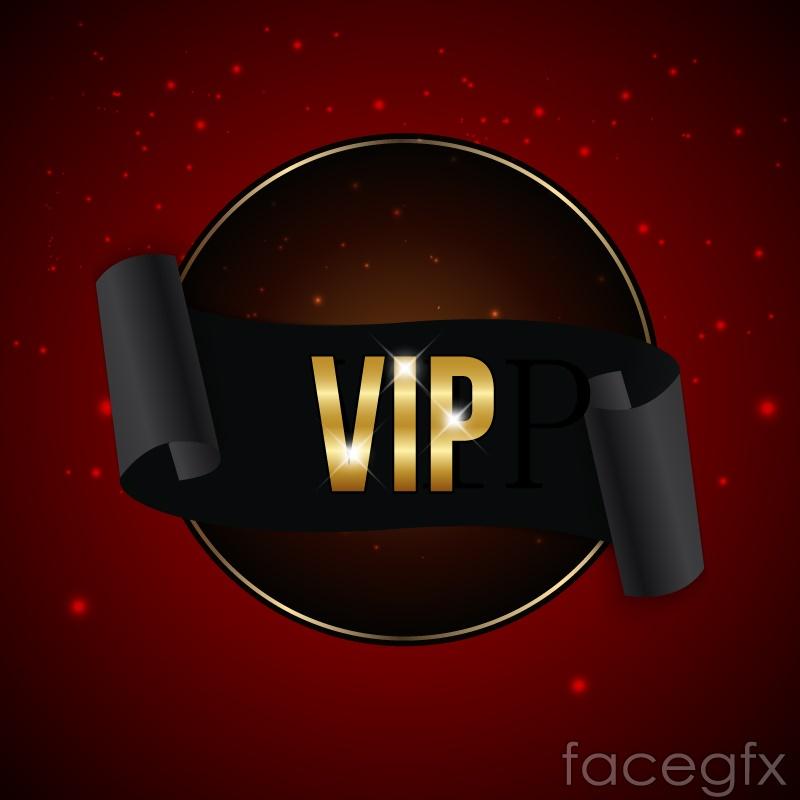 Black VIP Ribbon banner vector