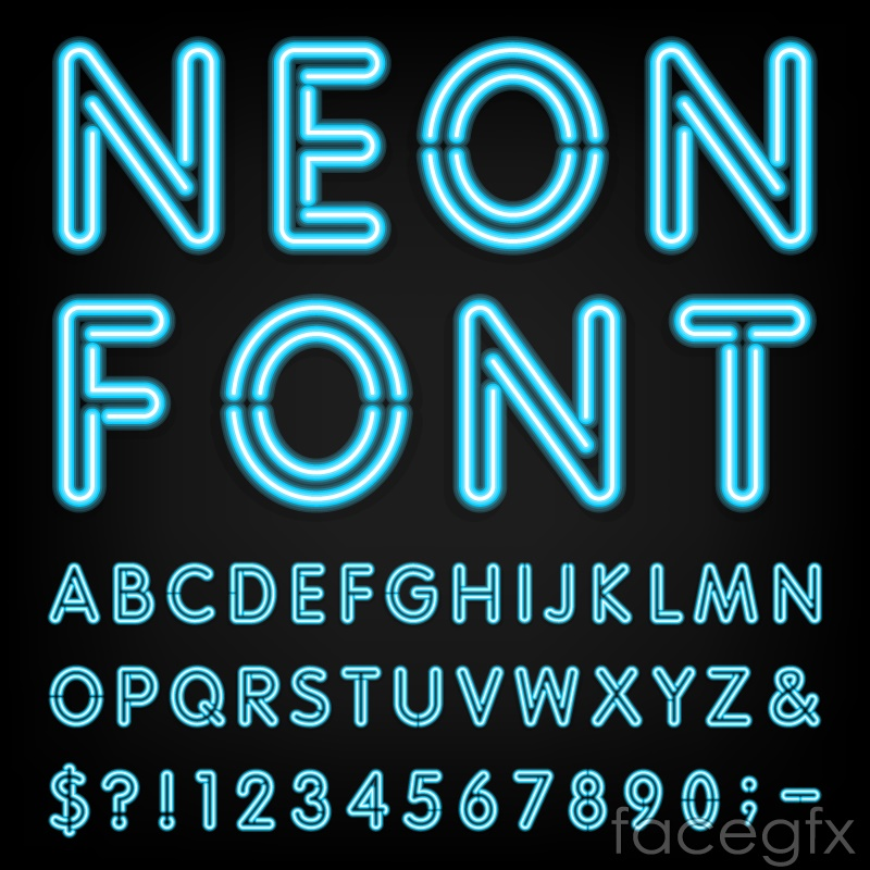 Blue neon alphabet vector