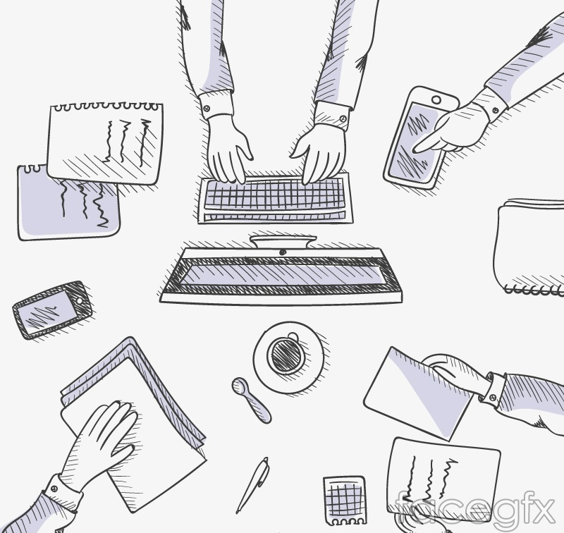 Business-conference table hand-painted vector
