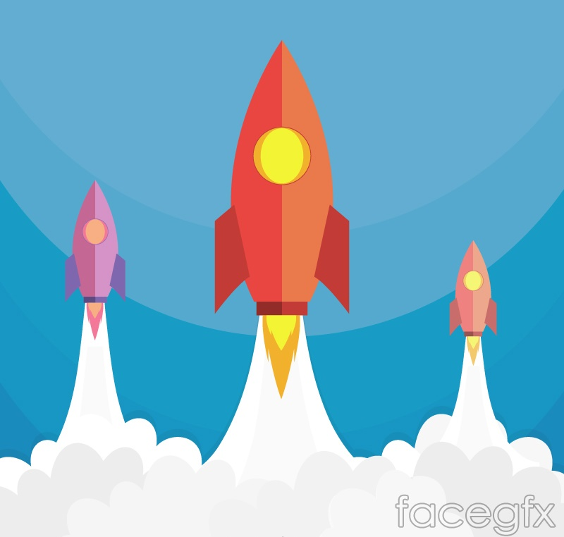 Cartoon rocket launch design vector