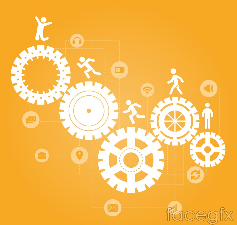 Creative business gear and small vectors